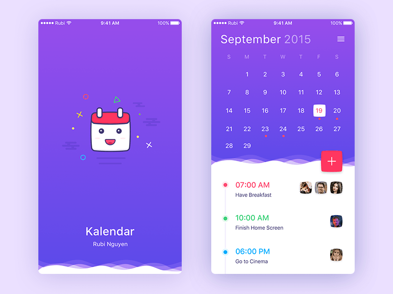 Calendar App : Simple calendar app sketch freebie download free