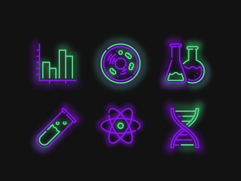 6 Neon Science Icons
