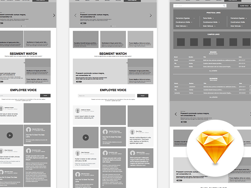 Intranet Website Wireframe Sketch Freebie