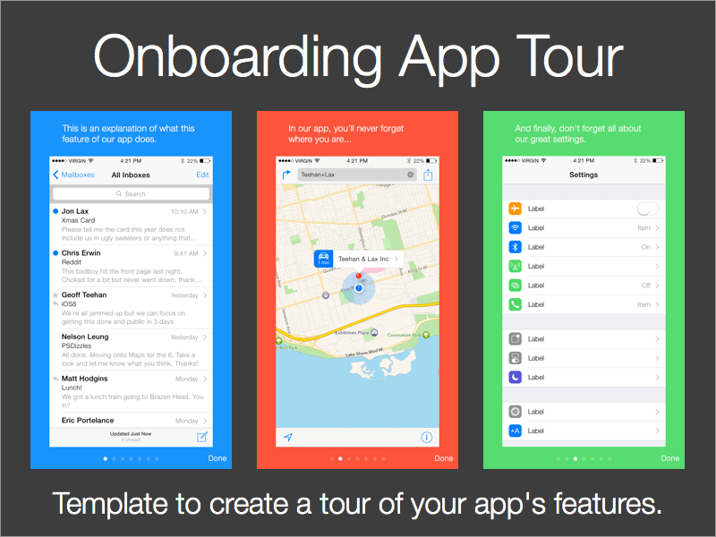 App On-boarding Tour Template Sketch freebie - Download