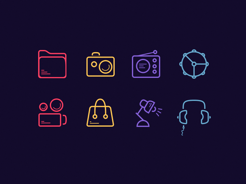 Set of 30 Colorful Line Icons
