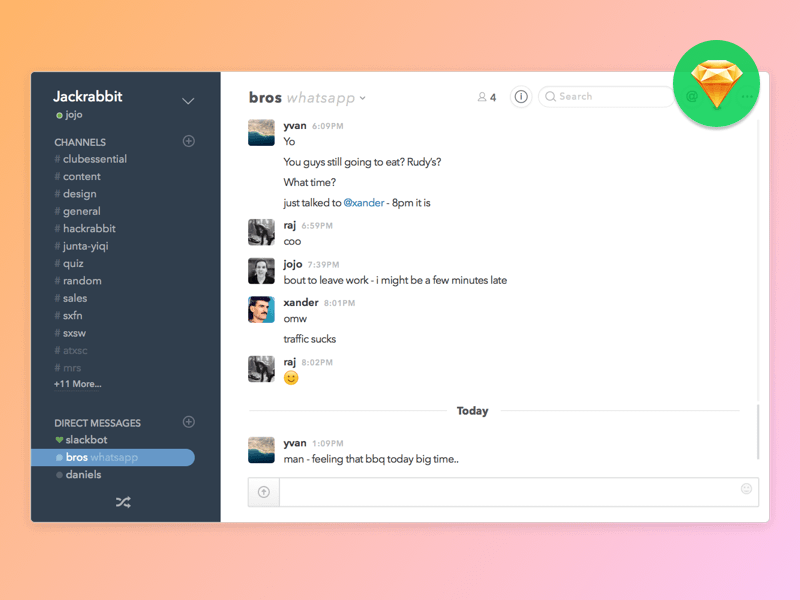 slack and whatsapp integration concept sketch freebie