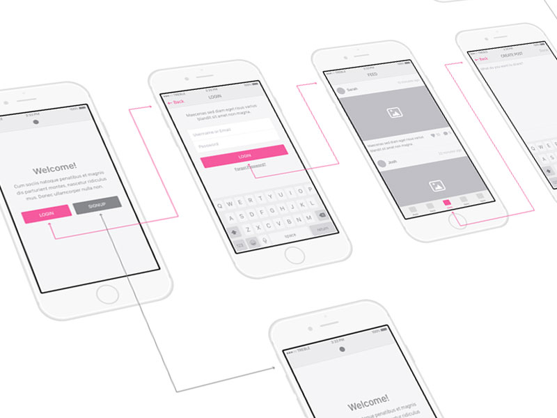 Snap UI kit - iOS Wireframes