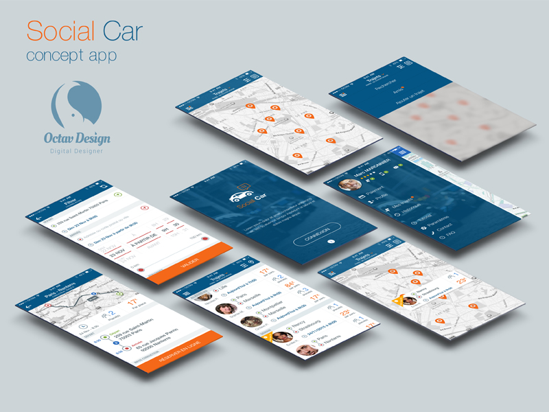 Social Car Concept UI Kit