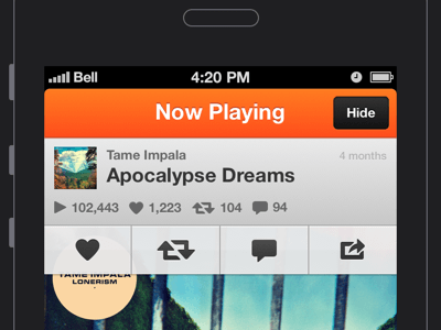 SoundCloud UI Mobile Sketch freebie - Download free resource