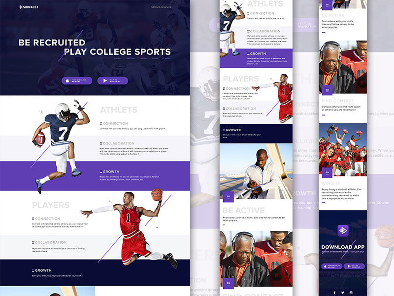 sports app landing page template sketch freebie download free