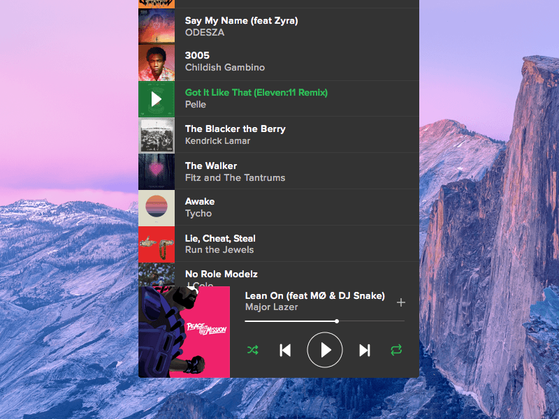Spotify Mini Player for Mac Concept
