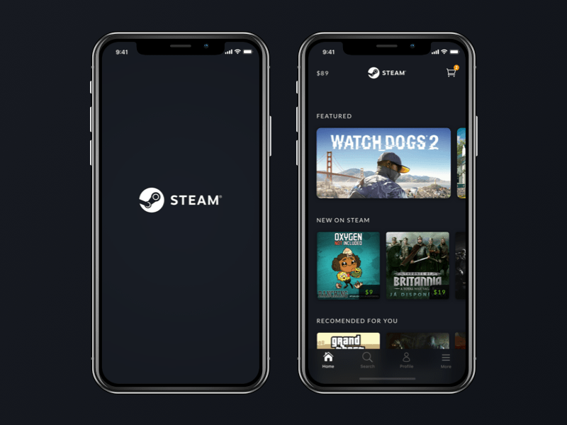 Steam App Redesign - iPhone X