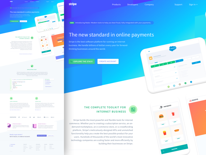 Stripe Website Homepage