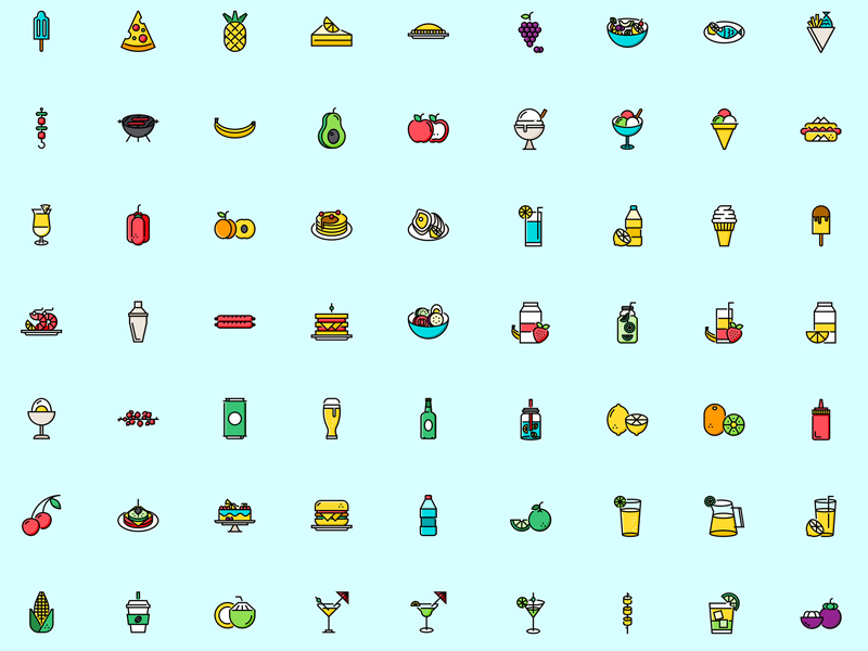 Summer Food and Drinks Icon Set