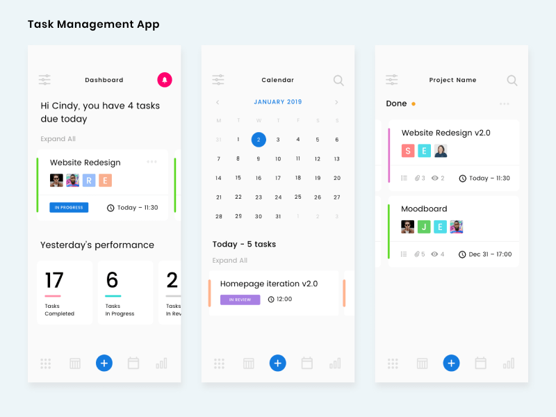 Task Management Screens