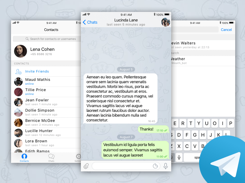 Telegram iOS UI Kit Sketch freebie - Download free resource