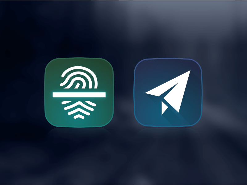 Telegram and Fingerprint Scanner Icons Sketch freebie - Download