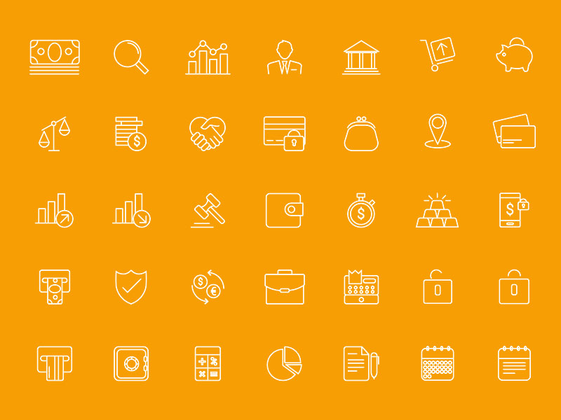 39 Thin Line Business Icons