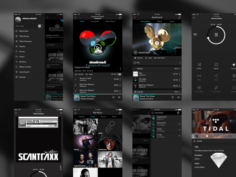 Tidal Music App Ui Sketch Freebie Download Free Resource