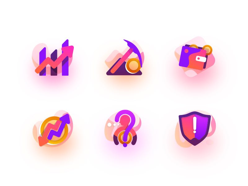 6 Colorful Trading Icons