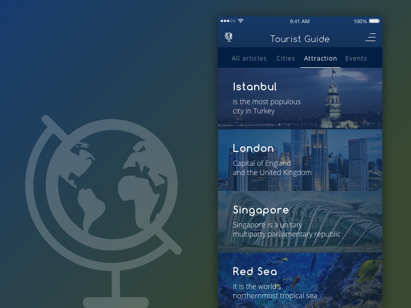Tourist Guide App View