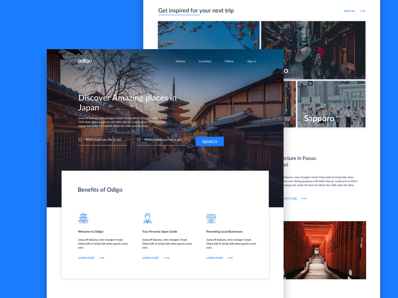 Travel Landing Page Concept