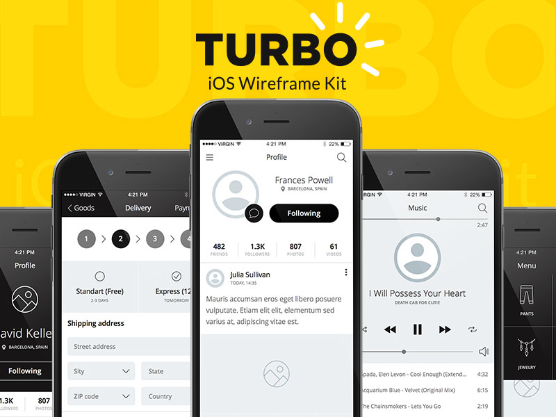 Turbo iOS Wireframe Kit Free Sample