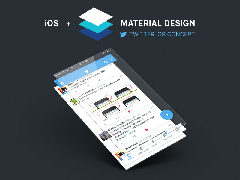 Twitter iOS Material Design Concept Sketch freebie - Download free