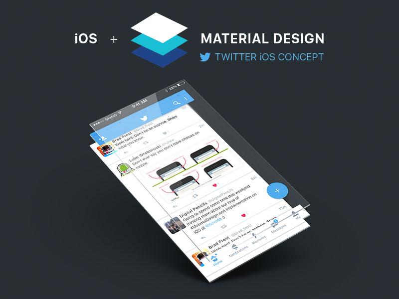 Twitter Ios Material Design Concept Sketch Freebie