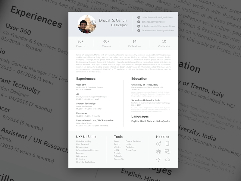 single page resume sketch freebie