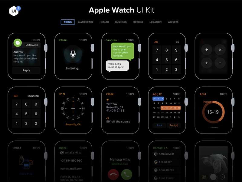Apple Watch UI Kit Sketch freebie - Download free resource for