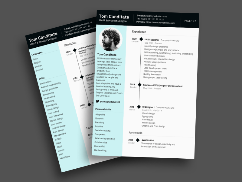 Ux Designer Resume Template Search By Muzli