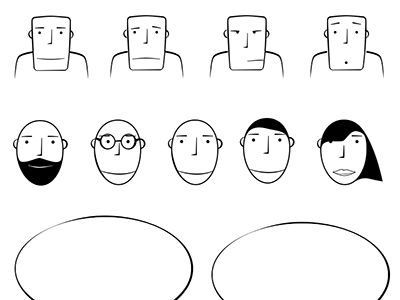 UX Storyboard characters and elements