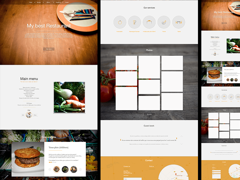 restaurant landing page template for sketch app sketch freebie