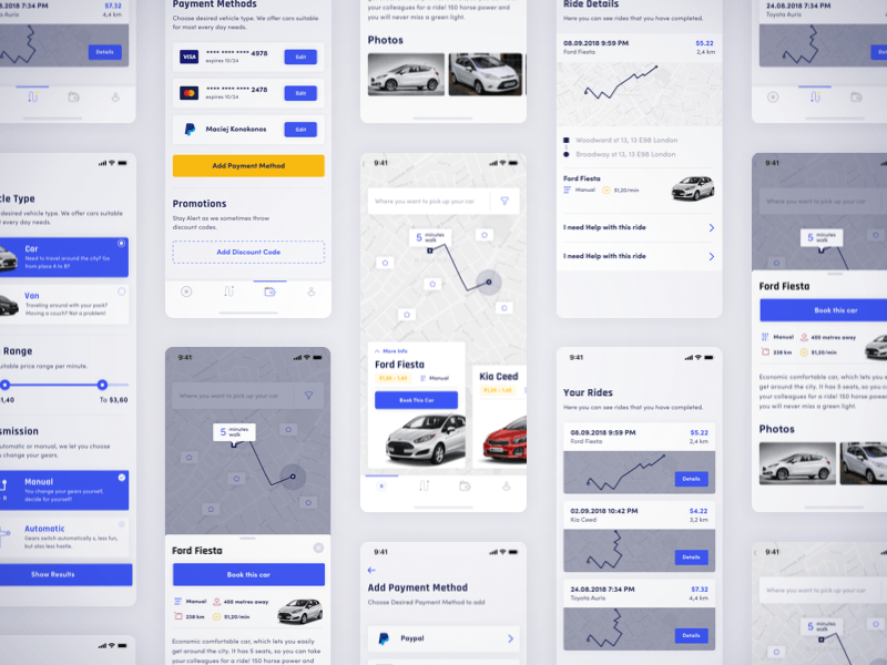 Car Rental App Sketch freebie - Download free resource for Sketch