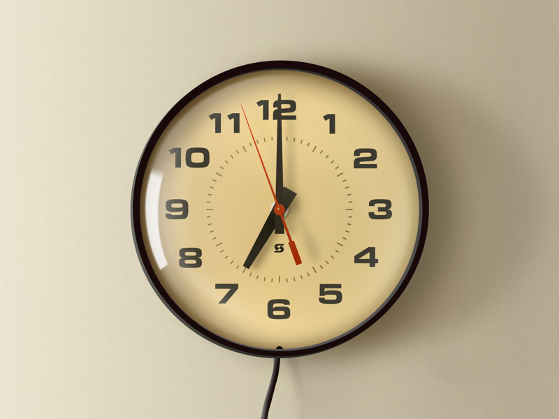Realistic Vintage School Wall Clock