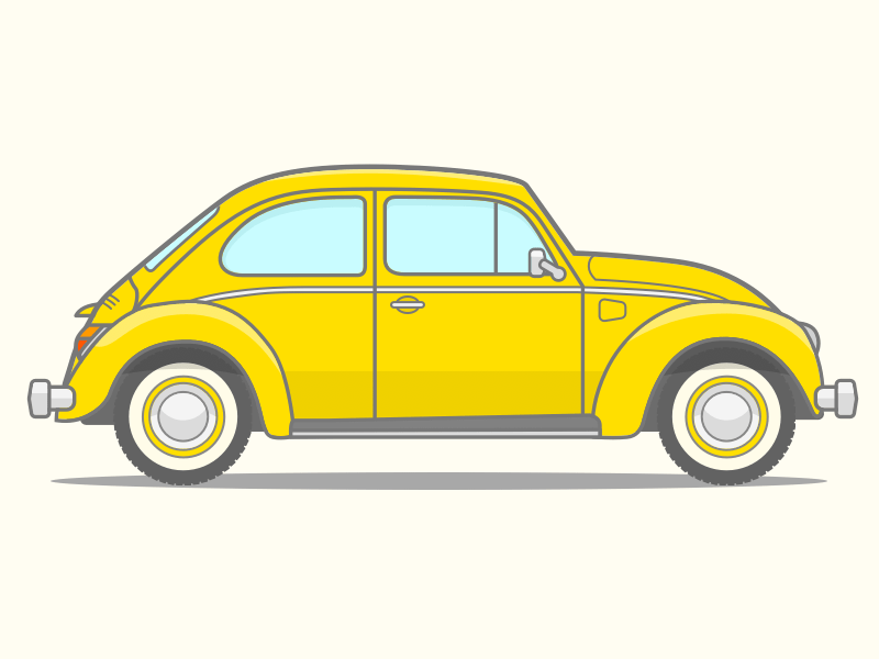 VW Beetle Vector Line Art