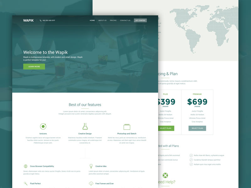 wapik website template sketch freebie download free resource for