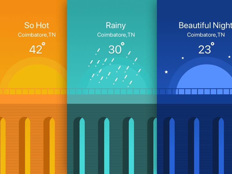 3 Weather App Backgrounds Sketch freebie - Download free resource