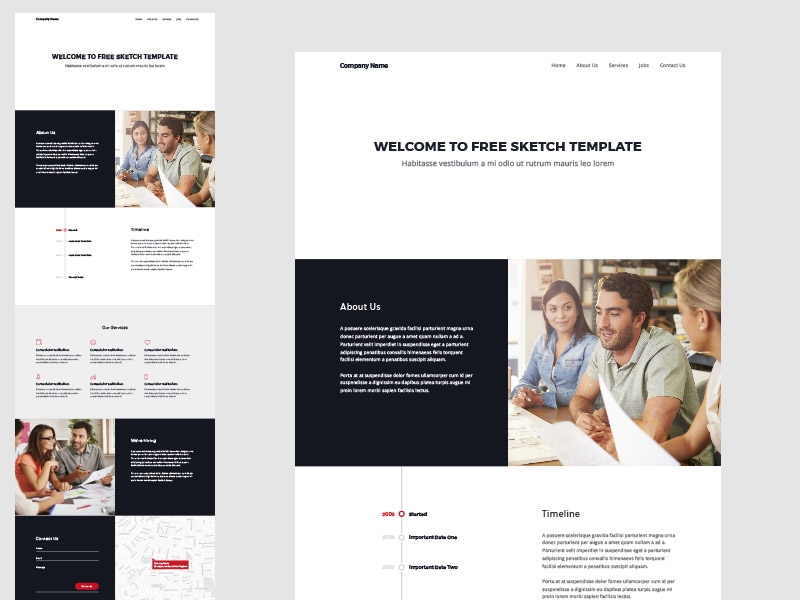 One Page Website Template Sketch Freebie Download Free Resource - About page template