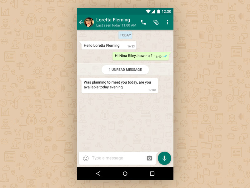 recreated the chat detail interface of WhatsApp in Sketch. You might ...
