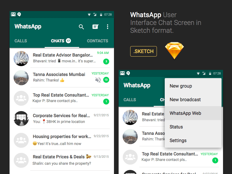 WhatsApp Android Chat UI Sketch freebie - Download free resource for