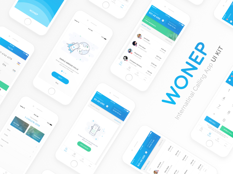 Wonep International Calling App UI Kit Sketch freebie - Download