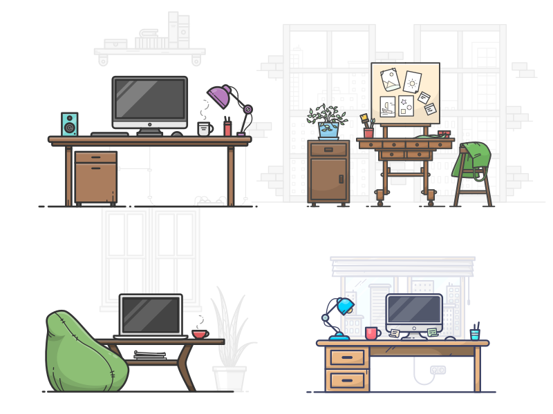 4 Workspace Illustrations