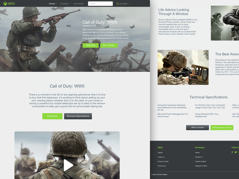 Xbox Website Re-design