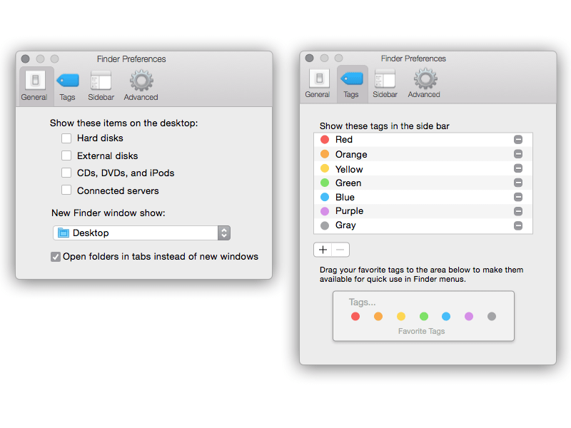 Yosemite Finder Preferences Window