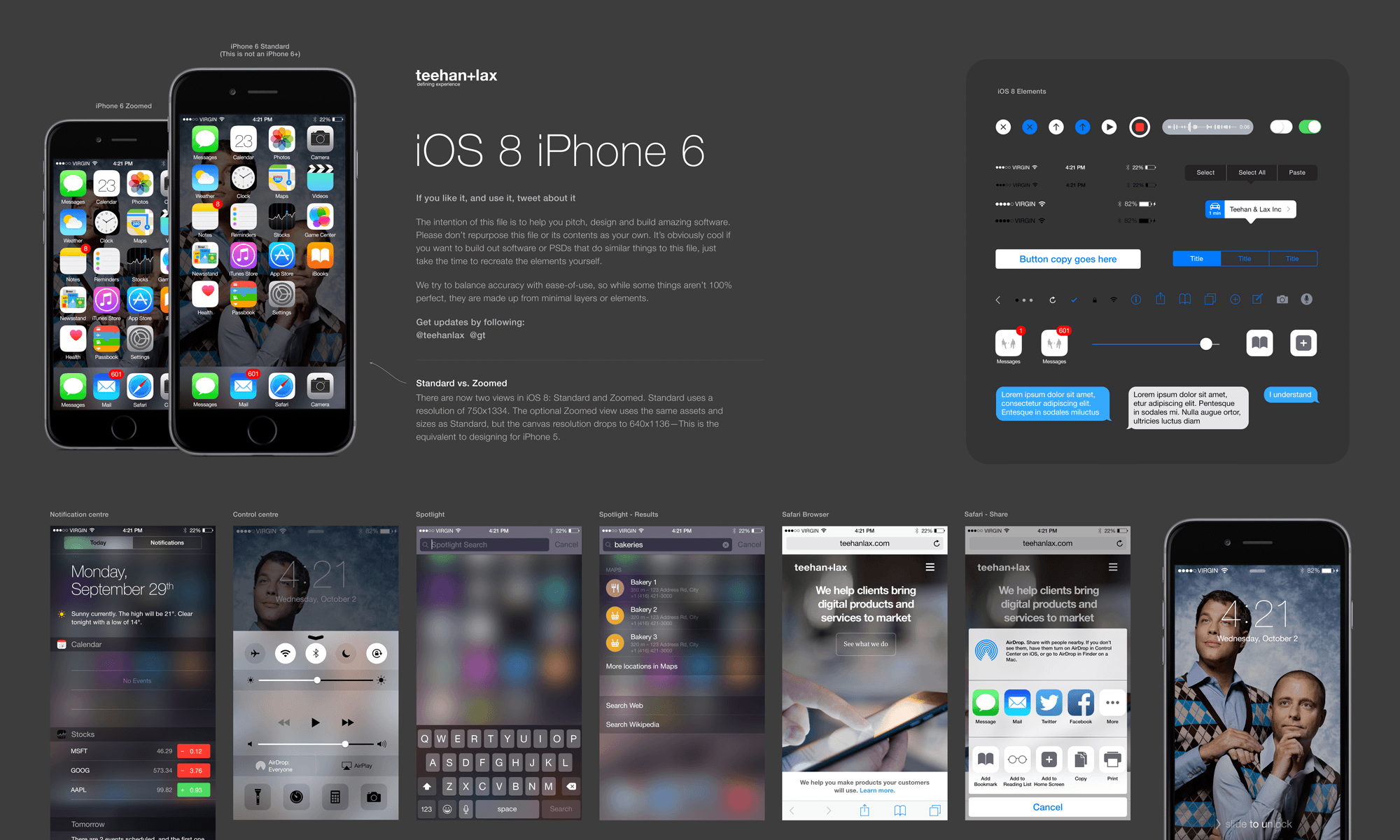 iOS 8 UI Elements and Templates for Sketch App Sketch Resource for ...