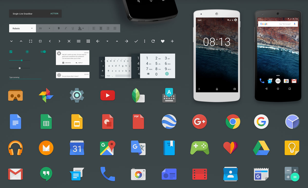 Resource >> Android M GUI Kit Sketch Resource for Sketch Image Zoom Attachment - Sketch App Sources
