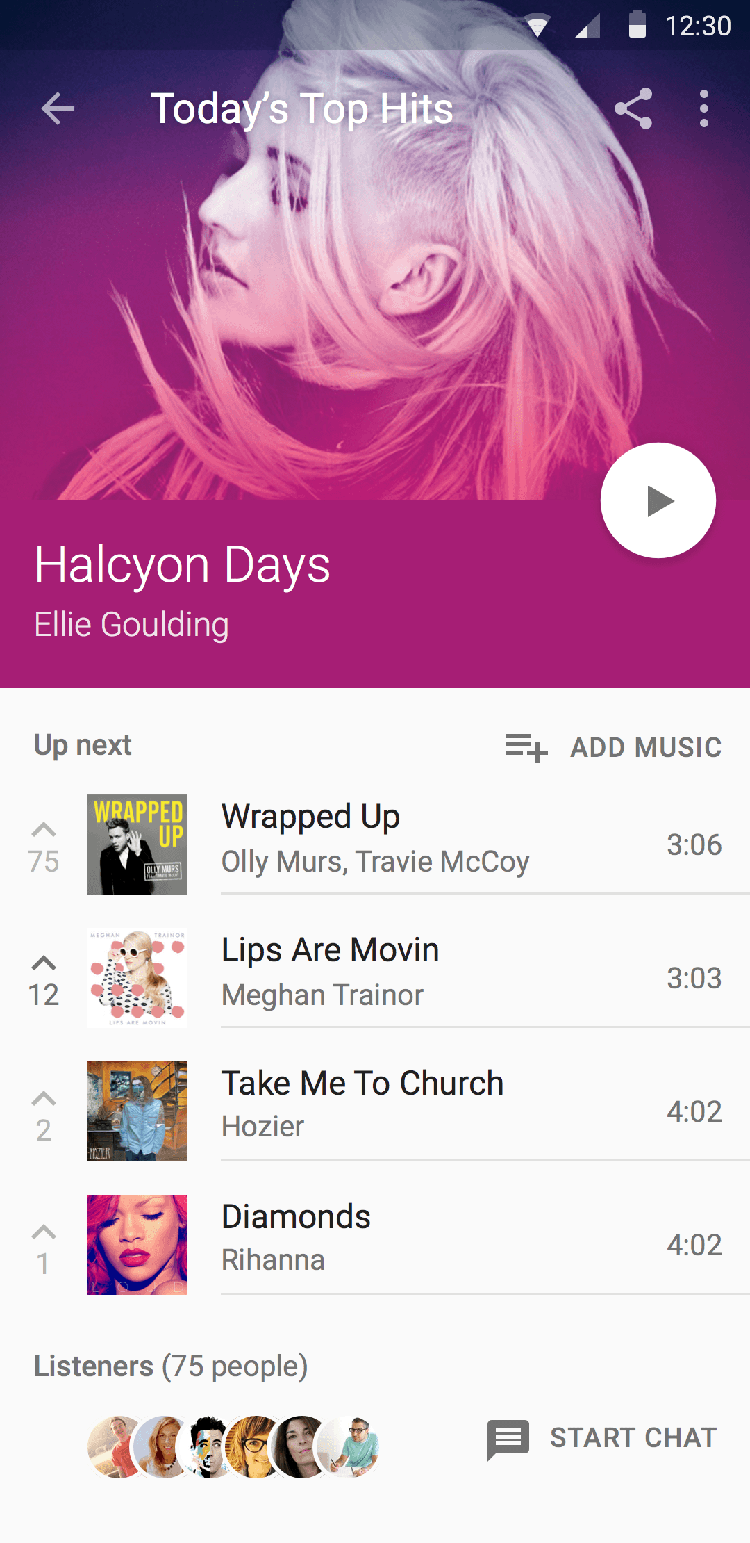 Material Design Music Player Sketch Resource For Sketch Image Zoom