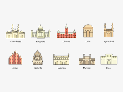 10 City Monument Icons