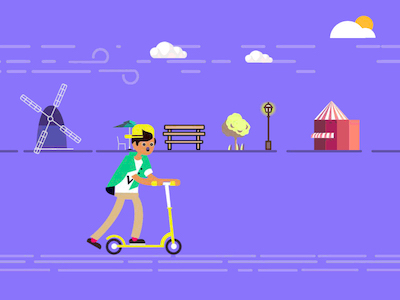 Boy and Scooter Illustration