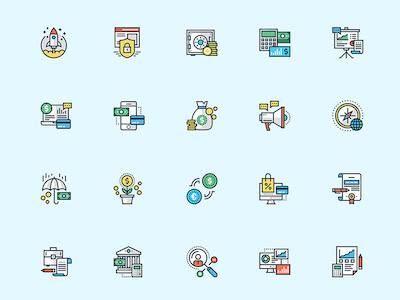 20 Colorful Business Icons