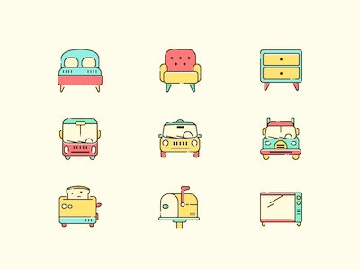 9 Colorful Icons