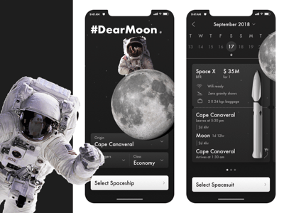 Space Travel App Concept